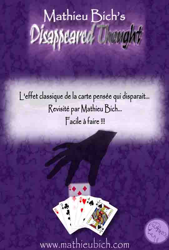 Disappeared thought est fourni avec  6 cartes imprimées par US Playing Cards Company